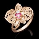 """Кольцо 01-5039-00-401-1110-48 """"Цветок орхидеи"""" с цветной эмалью из золота, завод Платина Кострома"""