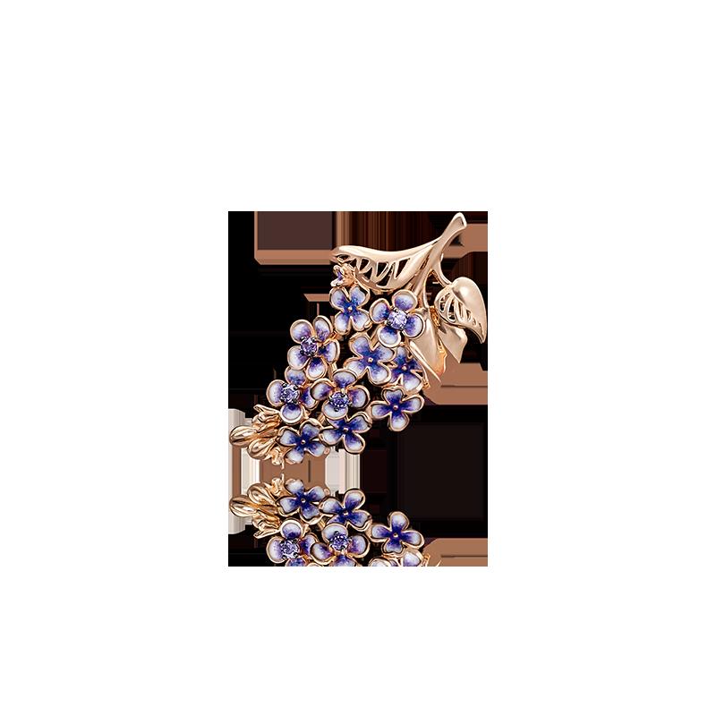 """Брошь """"Ветка сирени"""" из золота с эмалью завод ПЛАТИНА КОСТРОМА"""