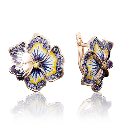 Серьги из золота с цветной эмалью, ювелирный завод ПЛАТИНА