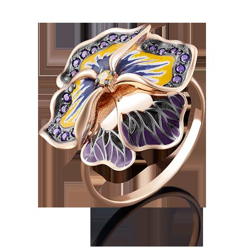 Кольцо из золота с цветной эмалью, ювелирный завод ПЛАТИНА