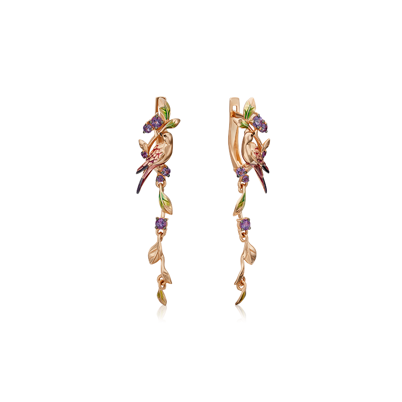 Серьги с аметистом из золота, ювелирный завод ПЛАТИНА
