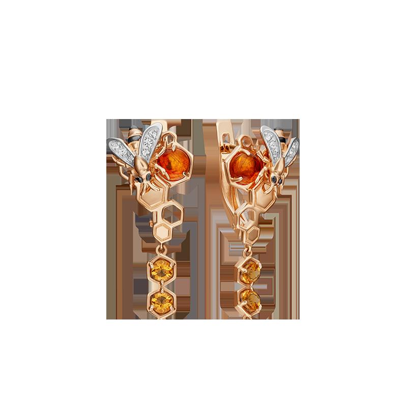 Серьги из золота с янтарем,  цитрином и топазом ювелирный завод ПЛАТИНА
