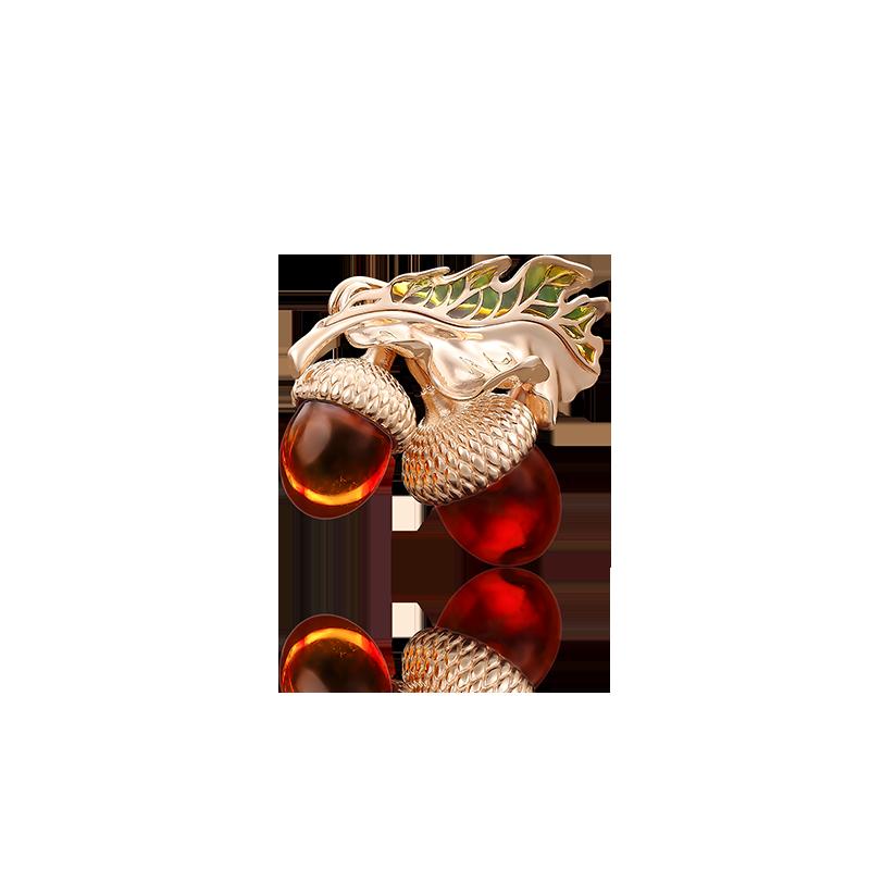 "Брошь 04-0166-00-271-1110-46 ""Желуди"" из золота ПЛАТИНА КОСТРОМА"