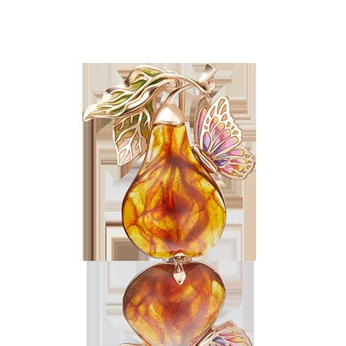 Брошь 04-0183-00-271-1110-46 с янтарем из золота завод ПЛАТИНА КОСТРОМА