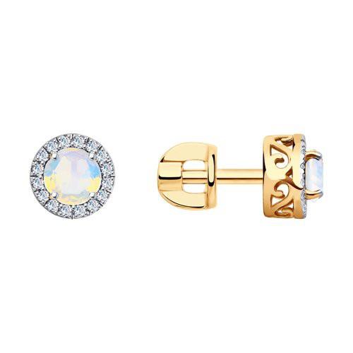 Серьги 6024198 с опалом и бриллиантами из золота SOKOLOV