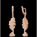 """Серьги 02-4098-00-000-1110-48 """"Листья дуба"""" из золота, ювелирный завод ПЛАТИНА"""