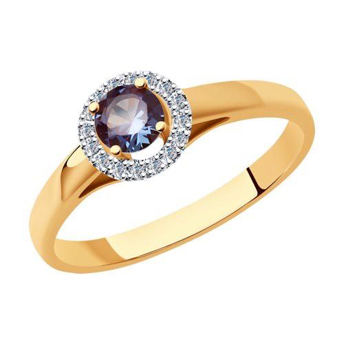 Кольцо 6014182 из золота с александритом и бриллиантами SOKOLOV