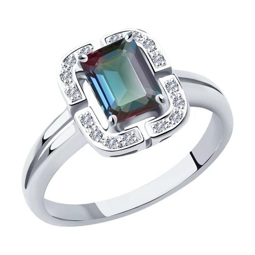 Кольцо 6014181-3 из белого золота с александритом и бриллиантами SOKOLOV