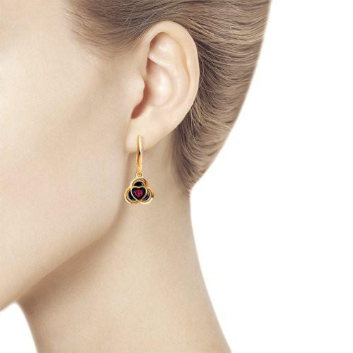 Серьги 4020437 из золота с рубином - SOKOLOV