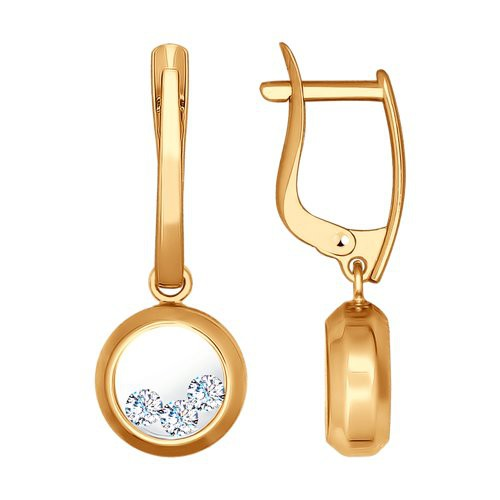 Серьги 027536 из золота с фианитом - SOKOLOV