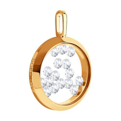 Подвеска 034926 из золота с фианитом - SOKOLOV