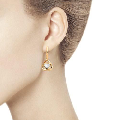 Серьги 1021730 из золота с бриллиантом - SOKOLOV