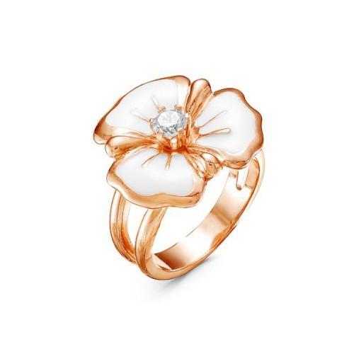 Кольцо из позолоченного серебра с эмалью, 3388611 КРАСНАЯ ПРЕСНЯ