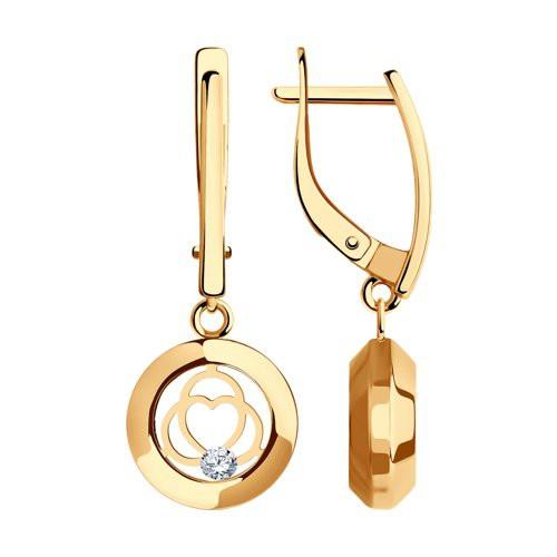 Серьги 029374 из золота с фианитом - SOKOLOV