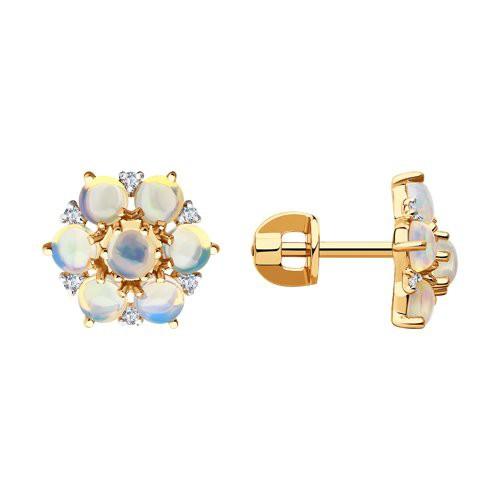 Серьги 6024230 с опалом и бриллиантами из золота SOKOLOV