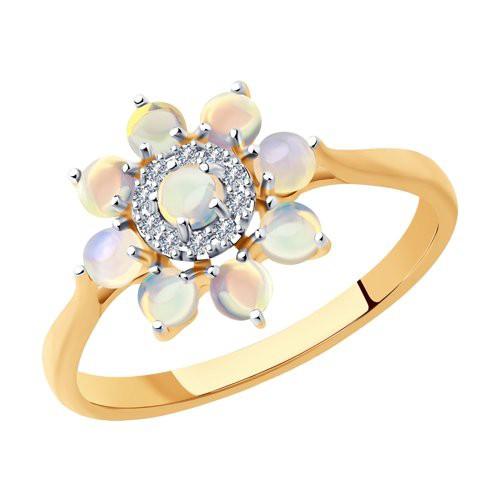 Кольцо 6014191 с опалом и бриллиантами из золота SOKOLOV