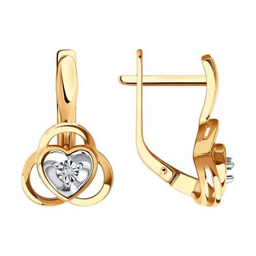 Серьги 1021726 из золота с бриллиантом - SOKOLOV