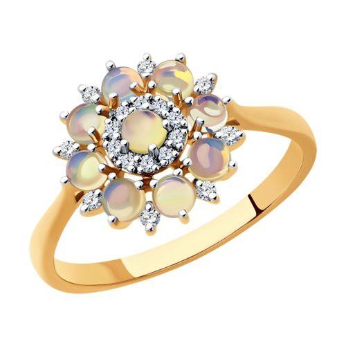 Кольцо 6014176 с опалом и бриллиантами из золота SOKOLOV