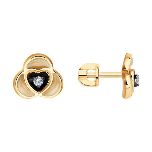 Серьги 1021744 из золота с бриллиантом - SOKOLOV