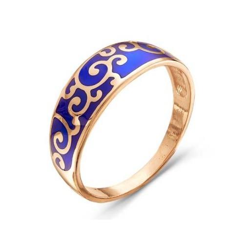 Кольцо из позолоченного серебра с эмалью, КРАСНАЯ ПРЕСНЯ