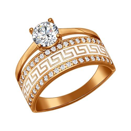 93010318 Кольцо SOKOLOV с эмалью из позолоченного серебра
