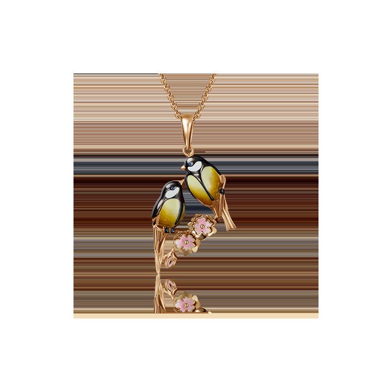 """Подвеска """"Две синички"""" с эмалью из золота 03-2873-00-000-1110-48, завод Платина Кострома"""