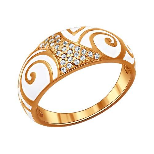 93010429 Кольцо SOKOLOV с эмалью из позолоченного серебра