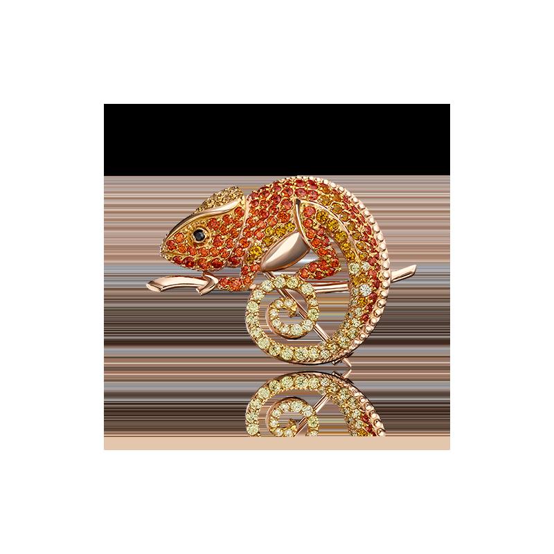 "Брошь ""Хамелеон"" 04-0121-01-404-1110-52 из золота ПЛАТИНА КОСТРОМА"