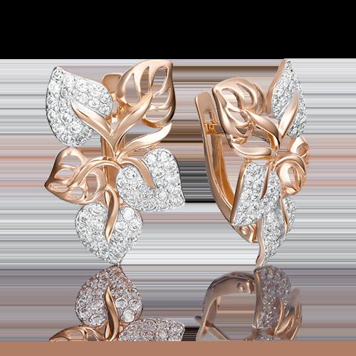 Серьги из золота с фианитами, 02-2647-00-401-1110-32, ювелирный завод ПЛАТИНА