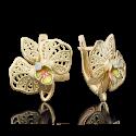 Серьги 02-3939-00-401-1130-48 цветок орхидеи из золота с цветной эмалью и фианитами, ювелирный завод ПЛАТИНА