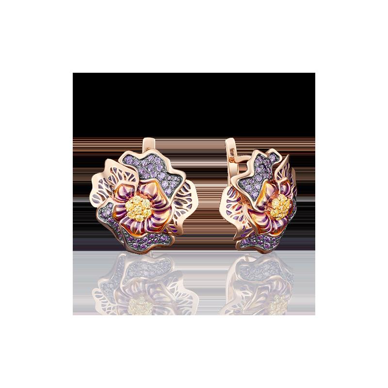 Серьги из красного золота с эмалью, Платина Кострома
