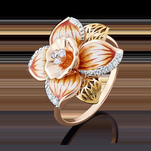 Кольцо 01-4883-00-401-1113-48 с цветной эмалью из золота, завод Платина Кострома
