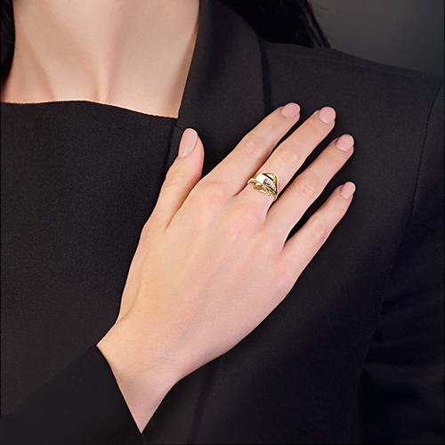 Кольцо из желтого золота с фианитами, ювелирный завод ПЛАТИНА