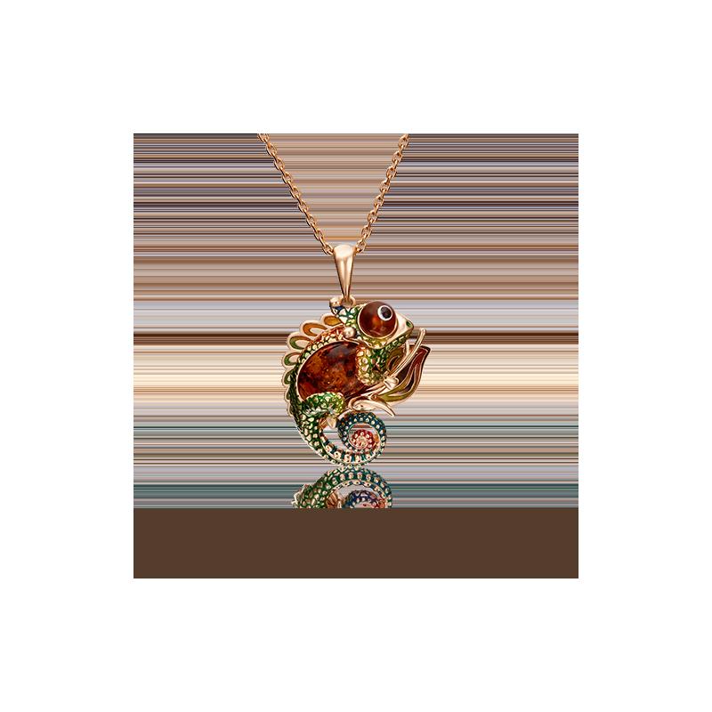 """Подвеска """"Хамелеон"""" 03-2941-00-271-1110-46 из золота с эмалью и миксом камней завод ПЛАТИНА КОСТРОМА"""