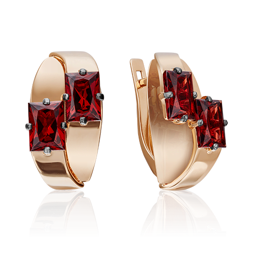 Серьги 02-4309-00-204-1110-57 с гранатом из красного золота, Платина Кострома