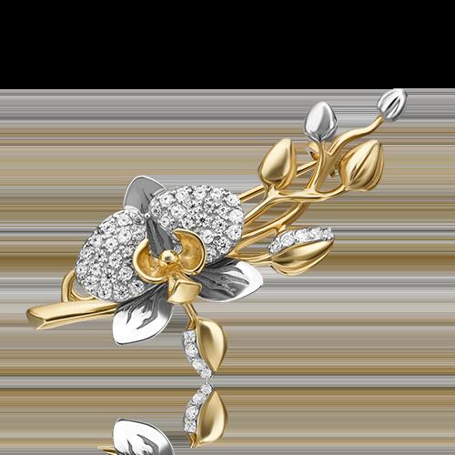 Брошь 04-0214-00-401-1121-48 из желтого золота, завод ПЛАТИНА КОСТРОМА