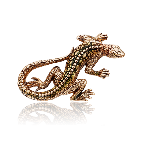"""Брошь 04-0213-00-000-1110-48 из красного золота """"Ящерица"""", завод ПЛАТИНА КОСТРОМА"""