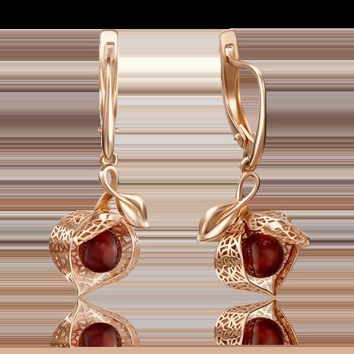 Серьги с янтарем из золота, ювелирный завод ПЛАТИНА