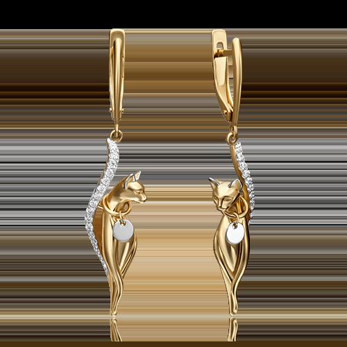 Серьги 02-4396-00-401-1121-48 из желтого золота, Платина Кострома