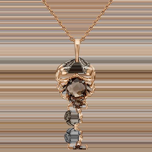 Подвеска из золота с дымчатым кварцем в виде Скорпиона, ювелирный завод ПЛАТИНА