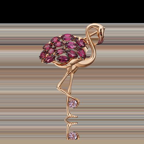 Брошь из золота в виде Фламинго, ювелирный завод ПЛАТИНА