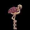 Брошь из золота в виде Фламинго с аметистом и гранатом, ювелирный завод ПЛАТИНА