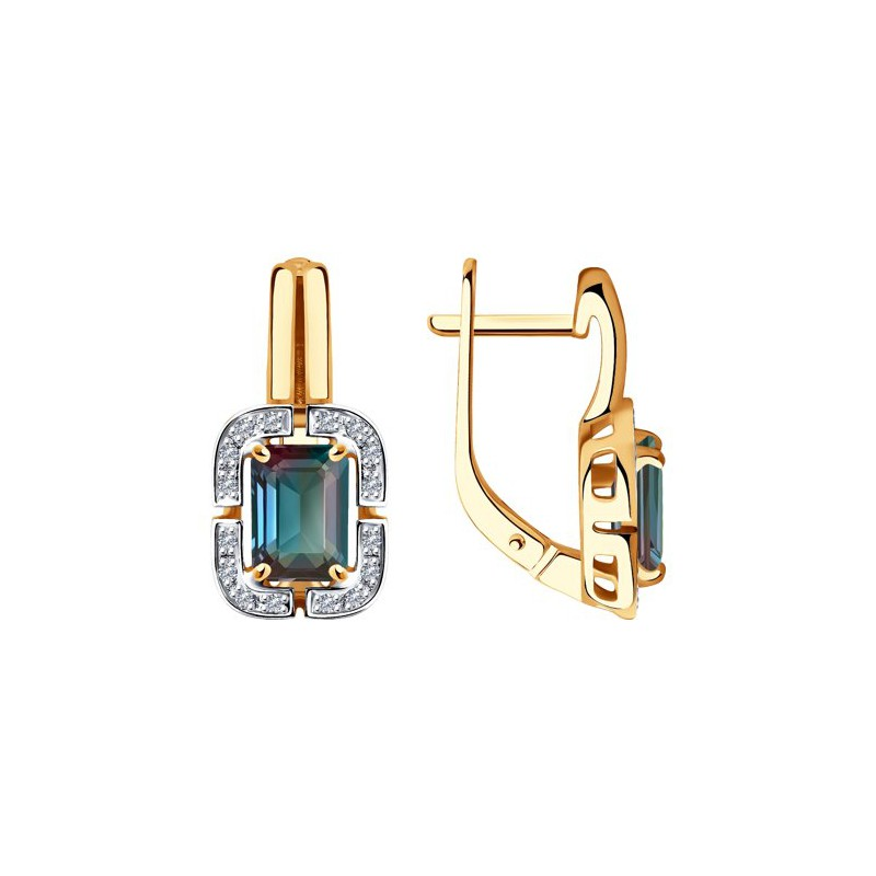 Серьги 6024212 из золота с александритом и бриллиантами SOKOLOV