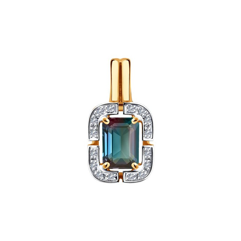 Подвеска 6034091 из золота с александритом и бриллиантами SOKOLOV