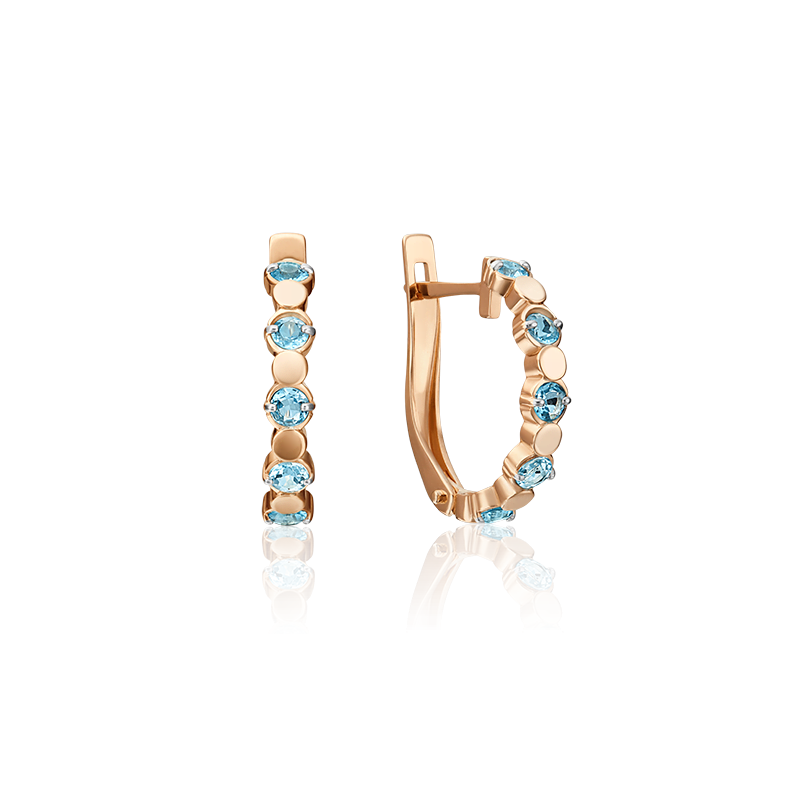 Серьги из золота с голубым топазом, ювелирный завод ПЛАТИНА