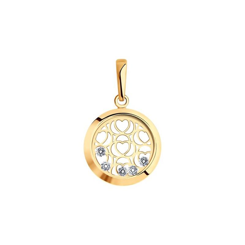 Подвеска 036098 из золота с фианитом - SOKOLOV