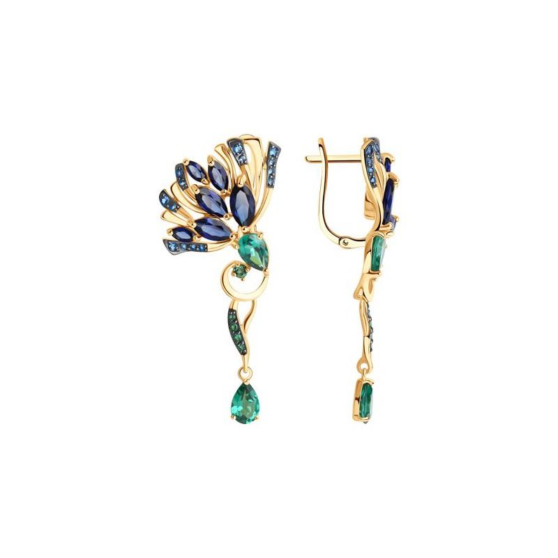 Серьги 727719 из золота с синим корундом - SOKOLOV