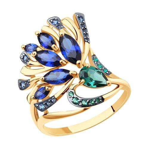 Кольцо 716479 из золота с синим корундом - SOKOLOV