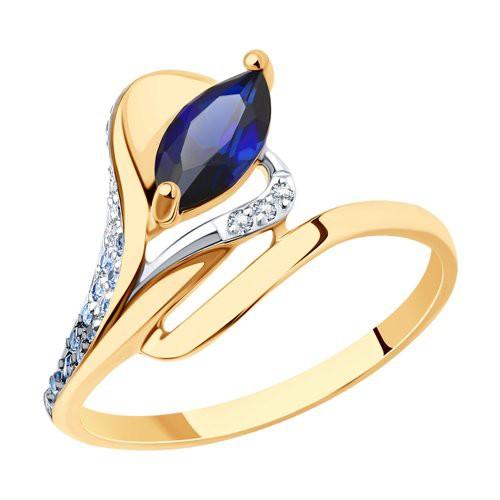 Кольцо 716454 из золота с синим корундом - SOKOLOV