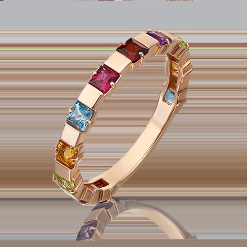 Кольцо из золота с миксом камней, Платина Кострома